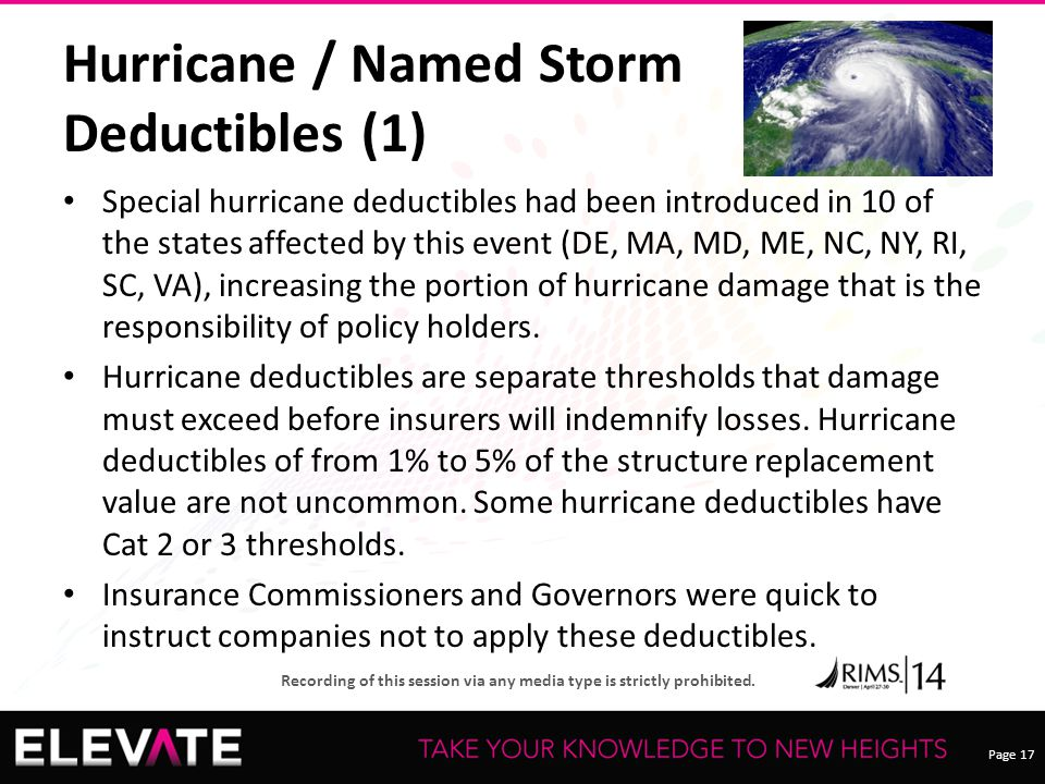 Page 17 Recording of this session via any media type is strictly prohibited. Hurricane / Named Storm Deductibles (1) Special hurricane deductibles had