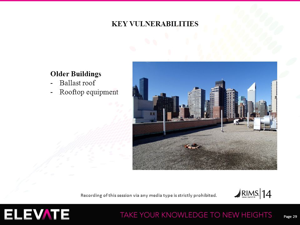 Page 29 Recording of this session via any media type is strictly prohibited. KEY VULNERABILITIES Older Buildings -Ballast roof -Rooftop equipment