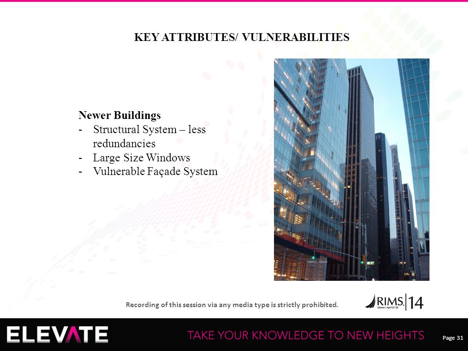 Page 31 Recording of this session via any media type is strictly prohibited. KEY ATTRIBUTES/ VULNERABILITIES Newer Buildings -Structural System – less