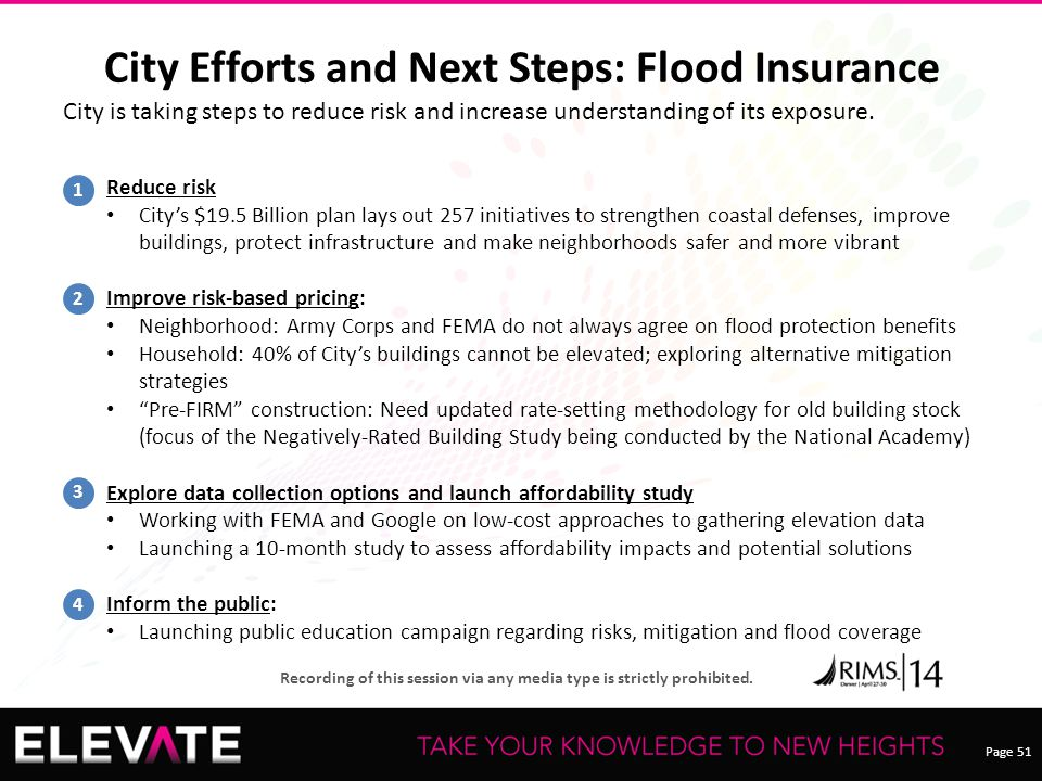 Page 51 Recording of this session via any media type is strictly prohibited. FEMA, OEM Reduce risk City's $19.5 Billion plan lays out 257 initiatives