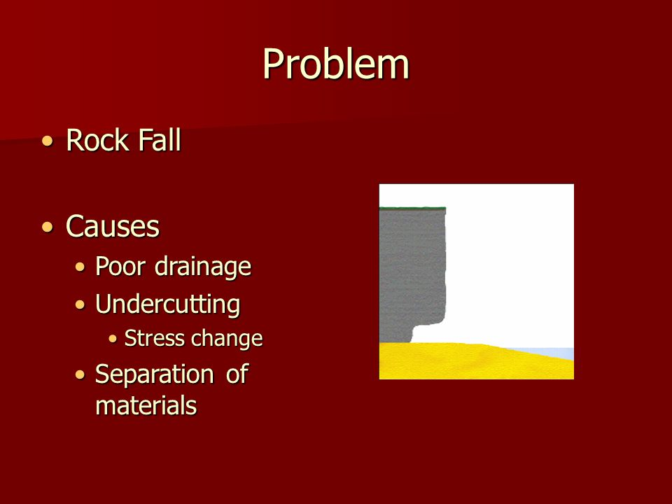 Problem Rock FallRock Fall CausesCauses Poor drainagePoor drainage UndercuttingUndercutting Stress changeStress change Separation of materialsSeparation of materials