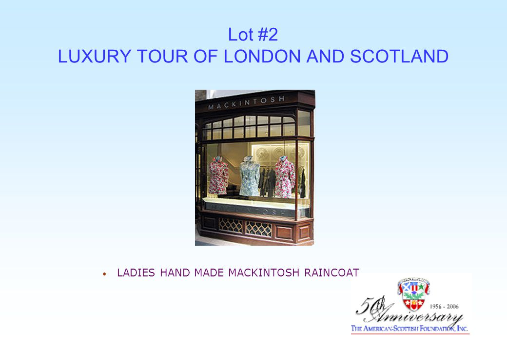 Lot #2 LUXURY TOUR OF LONDON AND SCOTLAND LADIES HAND MADE MACKINTOSH RAINCOAT