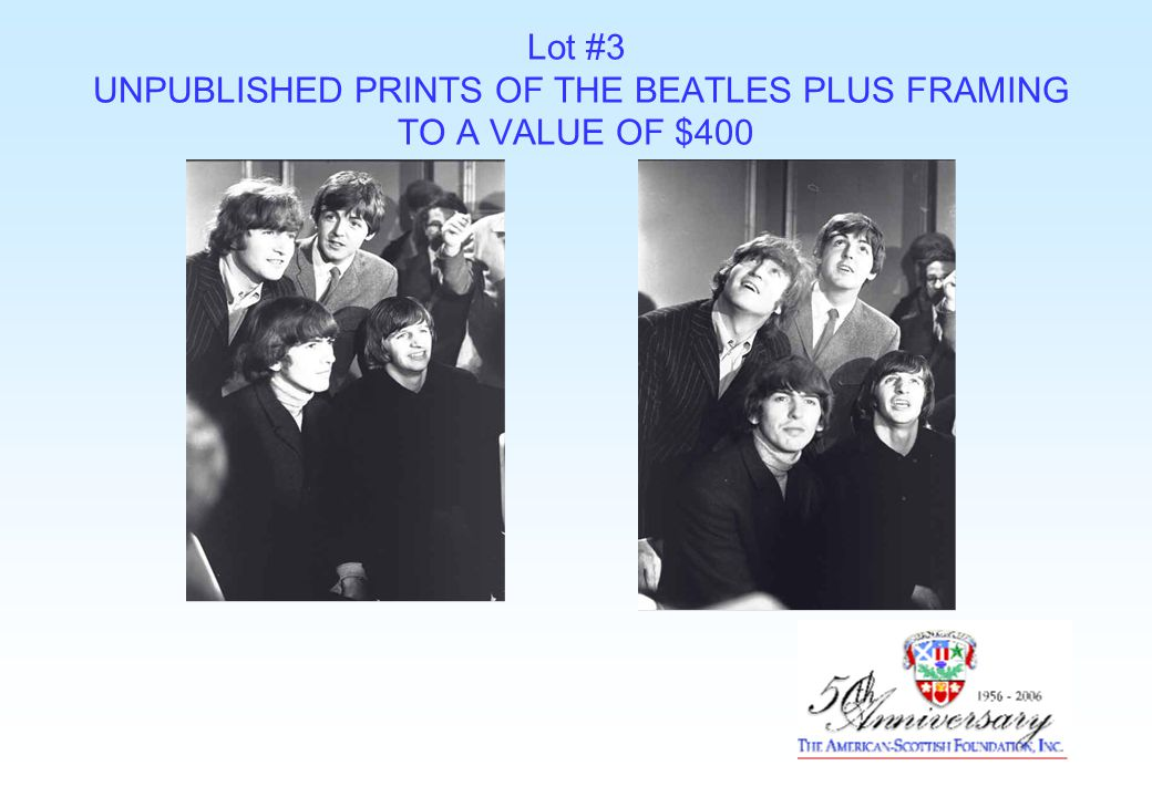 Lot #3 UNPUBLISHED PRINTS OF THE BEATLES PLUS FRAMING TO A VALUE OF $400