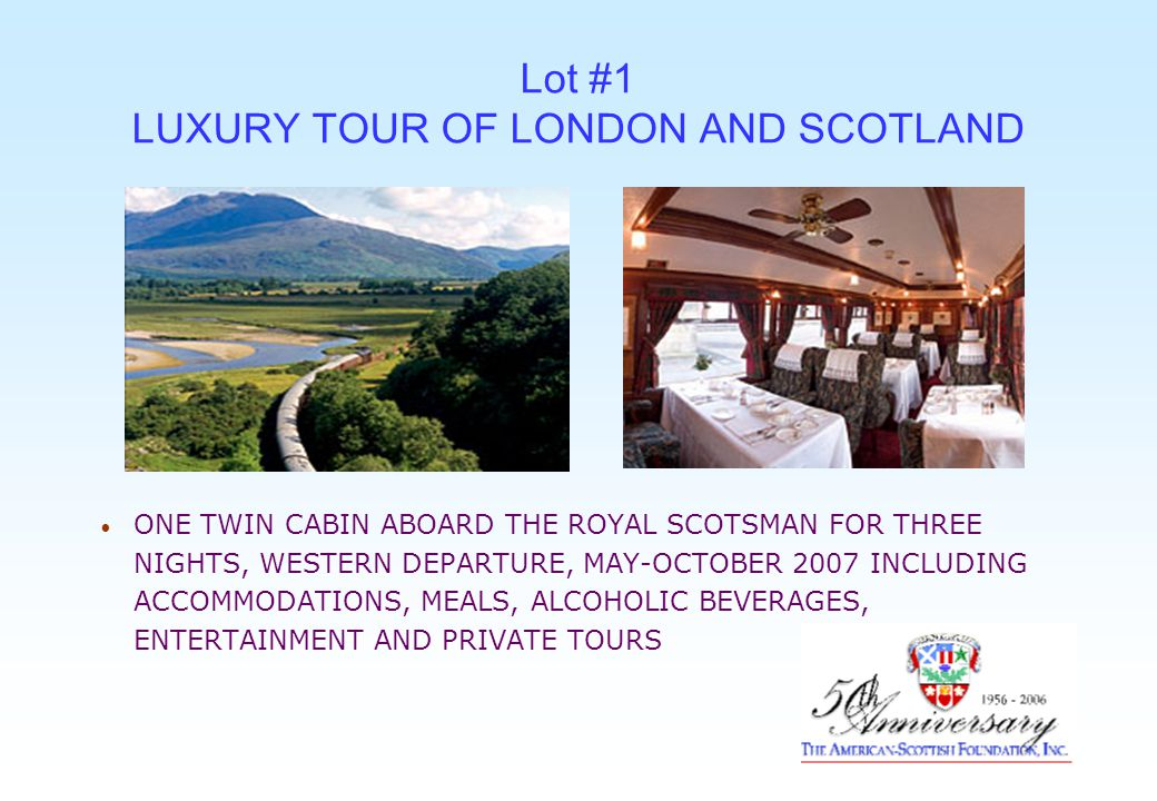 Lot #2 LUXURY TOUR OF LONDON AND SCOTLAND TWO NIGHTS ACCOMMODATIONS AT GLENEAGLES INCLUDING DINNER, FULL SCOTTISH BREAKFAST, UNLIMITED USE OF THE 850 ACRE GLENEAGLES ESTATE WITH TWO SWIMMING POOLS, SAUNA, TURKISH BATH, JACUZZI, OUTDOOR HOT POOL, CROQUET AND MUCH MORE