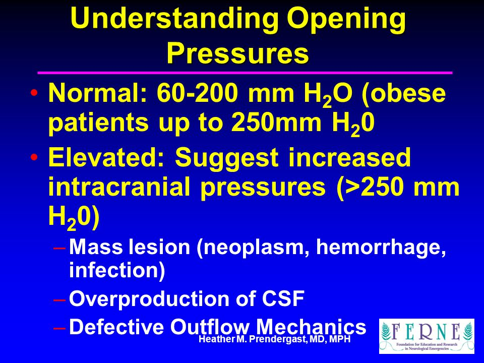 Heather M. Prendergast, MD, MPH Understanding Opening Pressures Normal: 60-200 mm H 2 O (obese patients up to 250mm H 2 0 Elevated: Suggest increased