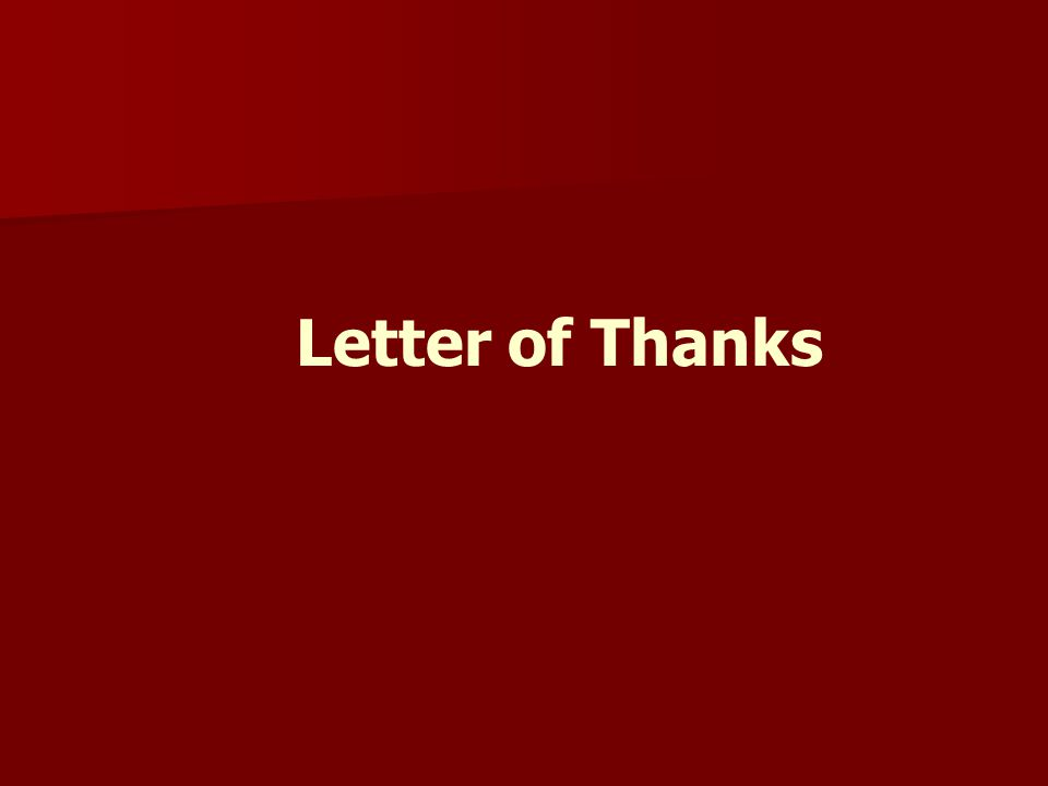Letter of Thanks