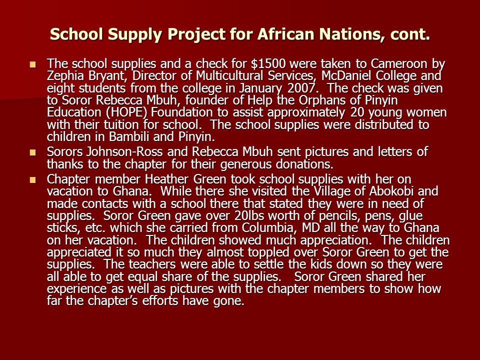 School supplies donated to the children of the villages of Pinyin and Bambili in Cameroon.