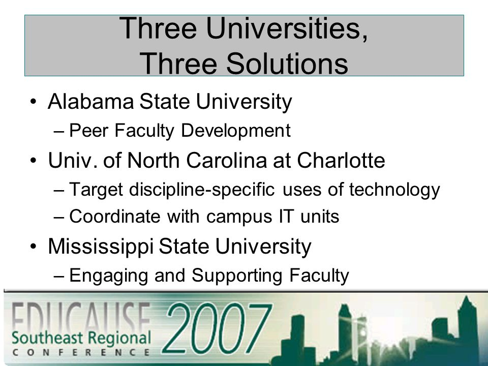 Three Universities, Three Solutions Alabama State University –Peer Faculty Development Univ.