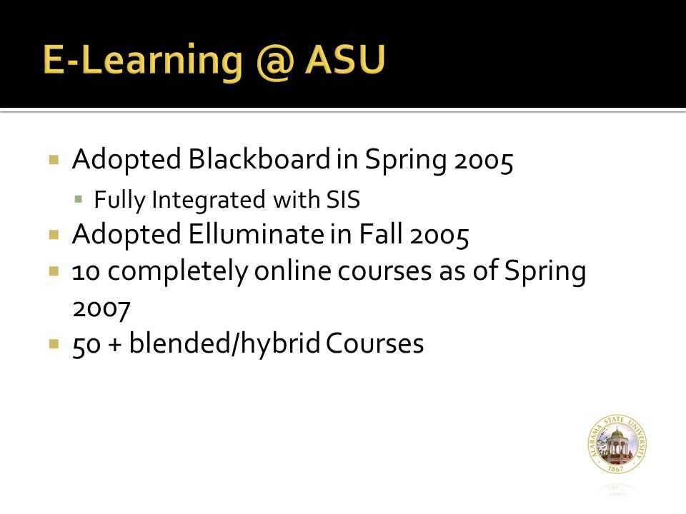  Adopted Blackboard in Spring 2005  Fully Integrated with SIS  Adopted Elluminate in Fall 2005  10 completely online courses as of Spring 2007  50 + blended/hybrid Courses