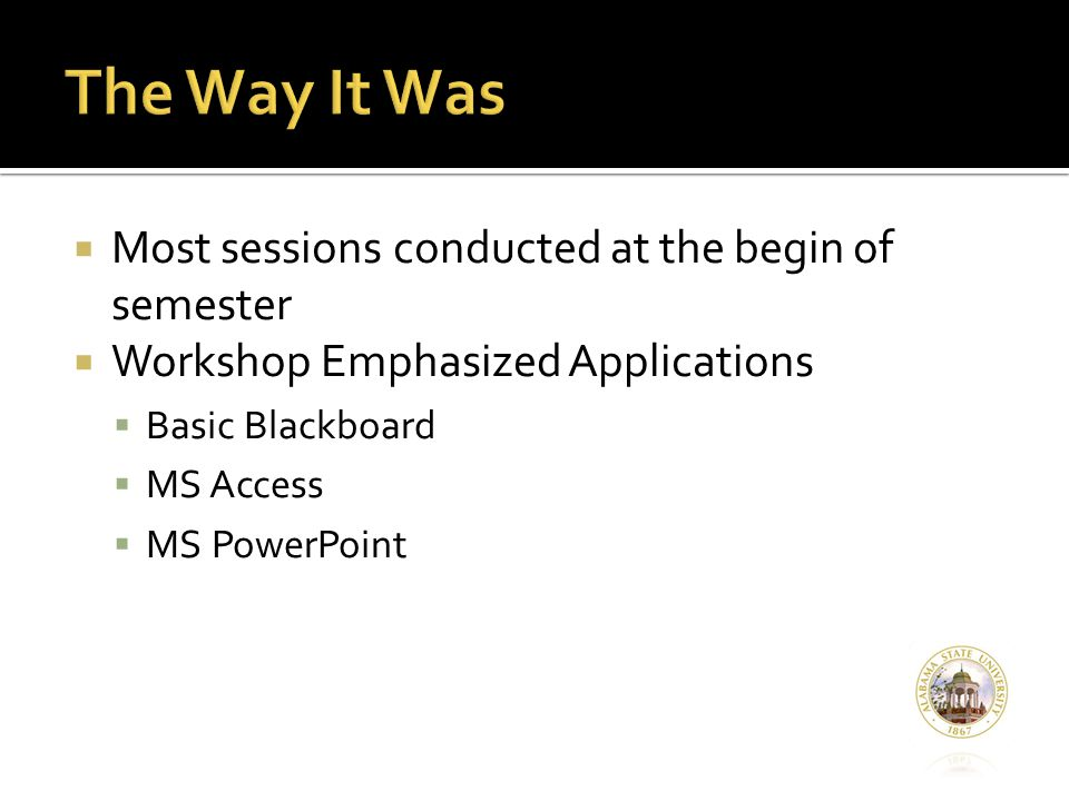  Most sessions conducted at the begin of semester  Workshop Emphasized Applications  Basic Blackboard  MS Access  MS PowerPoint