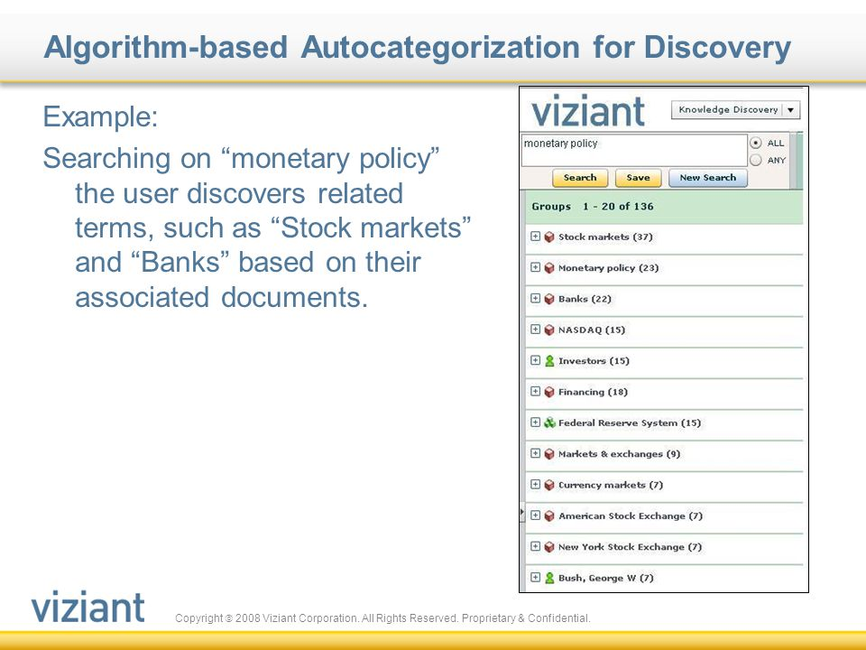 Copyright  2008 Viziant Corporation. All Rights Reserved. Proprietary & Confidential. Algorithm-based Autocategorization for Discovery Example: Searc