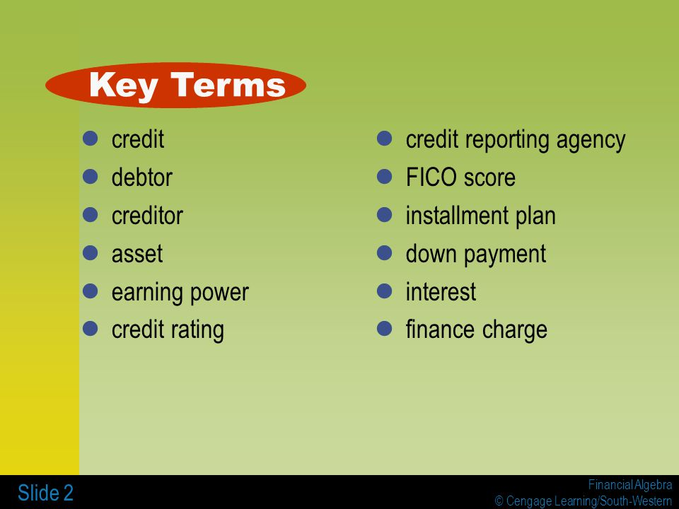 Financial Algebra © Cengage Learning/South-Western Slide 3 Example 1 Heather wants to purchase an electric guitar.
