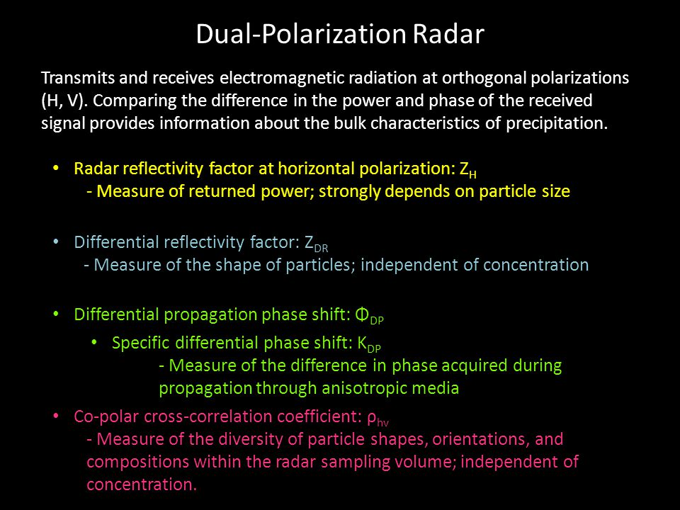 Dual-Polarization Radar Radar reflectivity factor at horizontal polarization: Z H - Measure of returned power; strongly depends on particle size Differential reflectivity factor: Z DR - Measure of the shape of particles; independent of concentration Differential propagation phase shift: Φ DP Specific differential phase shift: K DP - Measure of the difference in phase acquired during propagation through anisotropic media Co-polar cross-correlation coefficient: ρ hv - Measure of the diversity of particle shapes, orientations, and compositions within the radar sampling volume; independent of concentration.