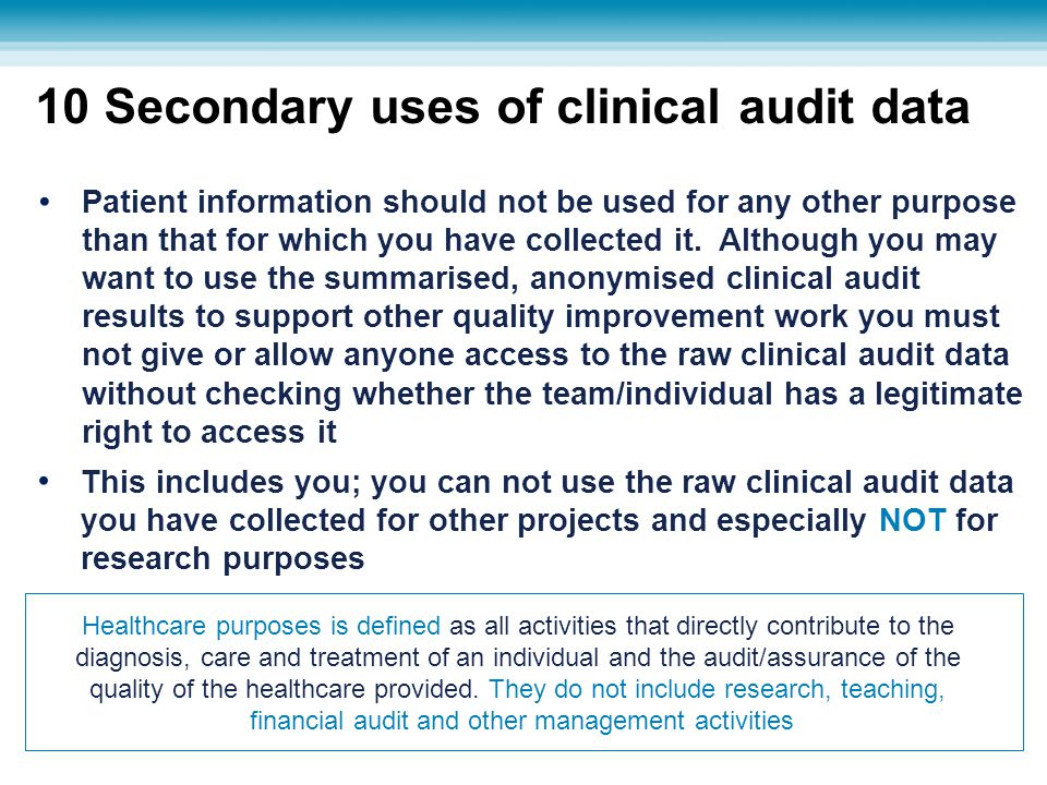10 Secondary uses of clinical audit data This includes you; you can not use the raw clinical audit data you have collected for other projects and espe