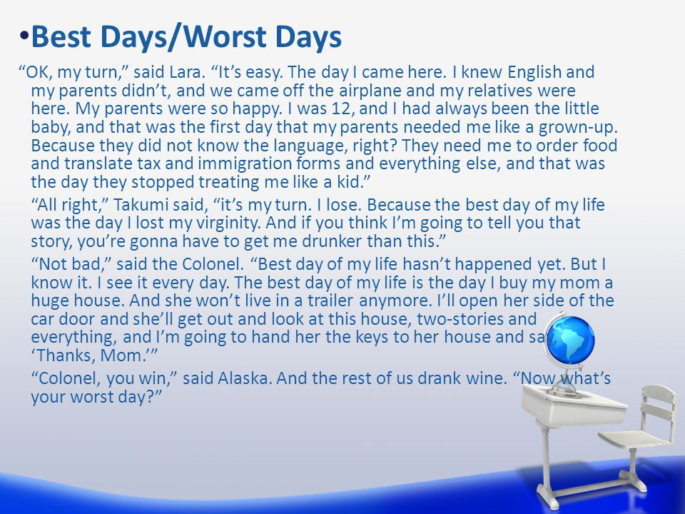 """Best Days/Worst Days """"OK, my turn,"""" said Lara. """"It's easy. The day I came here. I knew English and my parents didn't, and we came off the airplane and"""