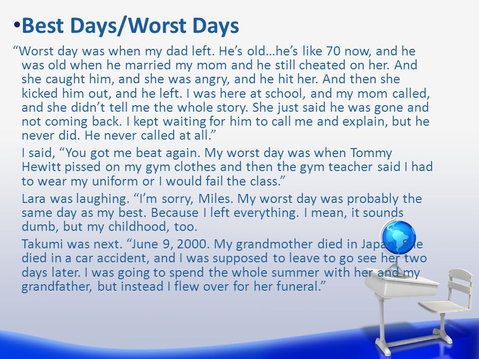 """Best Days/Worst Days """"Worst day was when my dad left. He's old…he's like 70 now, and he was old when he married my mom and he still cheated on her. An"""