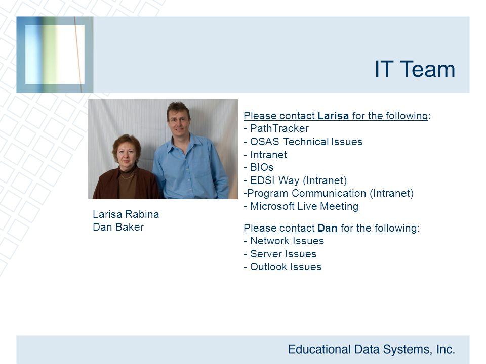 IT Team Larisa Rabina Dan Baker Please contact Larisa for the following: - PathTracker - OSAS Technical Issues - Intranet - BIOs - EDSI Way (Intranet)