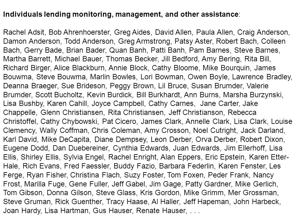 Individuals lending monitoring, management, and other assistance: Rachel Adsit, Bob Ahrenhoerster, Greg Aides, David Allen, Paula Allen, Craig Anderson, Damon Anderson, Todd Anderson, Greg Armstrong, Patsy Aster, Robert Bach, Colleen Bach, Gerry Bade, Brian Bader, Quan Banh, Patti Banh, Pam Barnes, Steve Barnes, Martha Barrett, Michael Bauer, Thomas Becker, Jill Bedford, Amy Bering, Rita Bill, Richard Birger, Alice Blackburn, Annie Block, Cathy Bloome, Mike Bourquin, James Bouwma, Steve Bouwma, Marlin Bowles, Lori Bowman, Owen Boyle, Lawrence Bradley, Deanna Braeger, Sue Brideson, Peggy Brown, Lil Bruce, Susan Brumder, Valerie Brumder, Scott Bucholtz, Kevin Burdick, Bill Burkhardt, Ann Burns, Marsha Burzynski, Lisa Bushby, Karen Cahill, Joyce Campbell, Cathy Carnes, Jane Carter, Jake Chappelle, Glenn Christiansen, Rita Christiansen, Jeff Christianson, Rebecca Christoffel, Cathy Chybowski, Pat Cicero, James Clark, Annelle Clark, Lisa Clark, Louise Clemency, Wally Coffman, Chris Coleman, Amy Crosson, Noel Cutright, Jack Darland, Karl David, Mike DeCapita, Diane Dempsey, Leon Derber, Orva Derber, Robert Dixon, Eugene Dodd, Dan Duebereiner, Cynthia Edwards, Juan Edwards, Jim Ellerhoff, Lisa Ellis, Shirley Ellis, Sylvia Engel, Rachel Enright, Alan Eppers, Eric Epstein, Karen Etter- Hale, Rich Evans, Fred Faessler, Buddy Fazio, Barbara Federlin, Karen Fenster, Les Ferge, Ryan Fisher, Christina Flach, Suzy Foster, Tom Foxen, Peder Frank, Nancy Frost, Marilla Fuge, Gene Fuller, Jeff Gabel, Jim Gage, Patty Gardner, Mike Gerlich, Tom Gibson, Donna Gilson, Steve Glass, Kris Gordon, Mike Grimm, Mer Grossman, Steve Gruman, Rick Guenther, Tracy Haase, Al Haller, Jeff Hapeman, John Harbeck, Joan Hardy, Lisa Hartman, Gus Hauser, Renate Hauser,...
