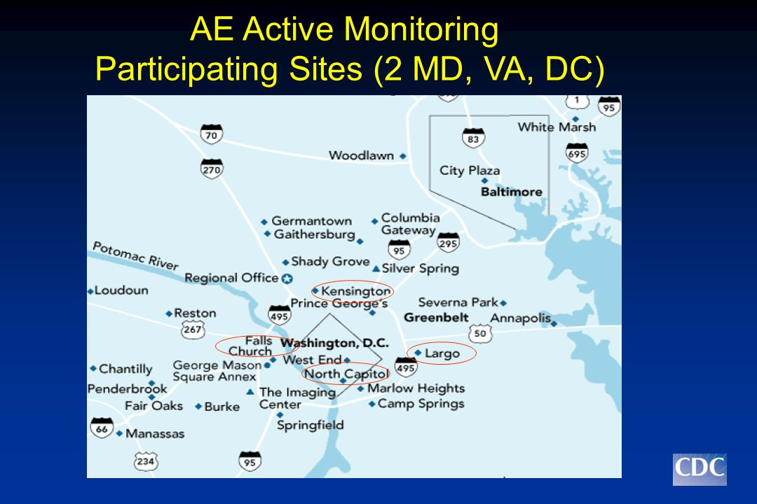 AE Active Monitoring Participating Sites (2 MD, VA, DC)