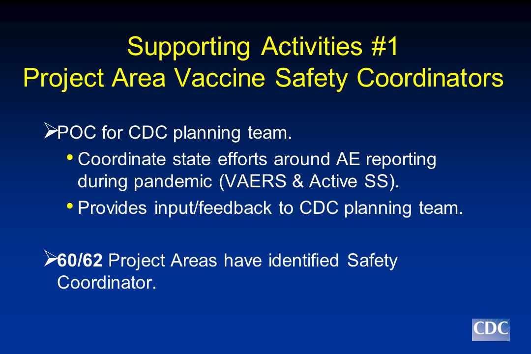 Supporting Activities #1 Project Area Vaccine Safety Coordinators  POC for CDC planning team.
