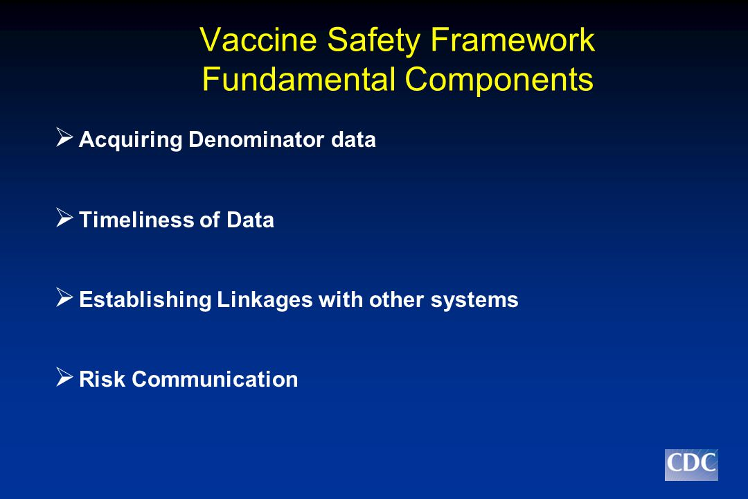 Vaccine Safety Framework Fundamental Components  Acquiring Denominator data  Timeliness of Data  Establishing Linkages with other systems  Risk Communication