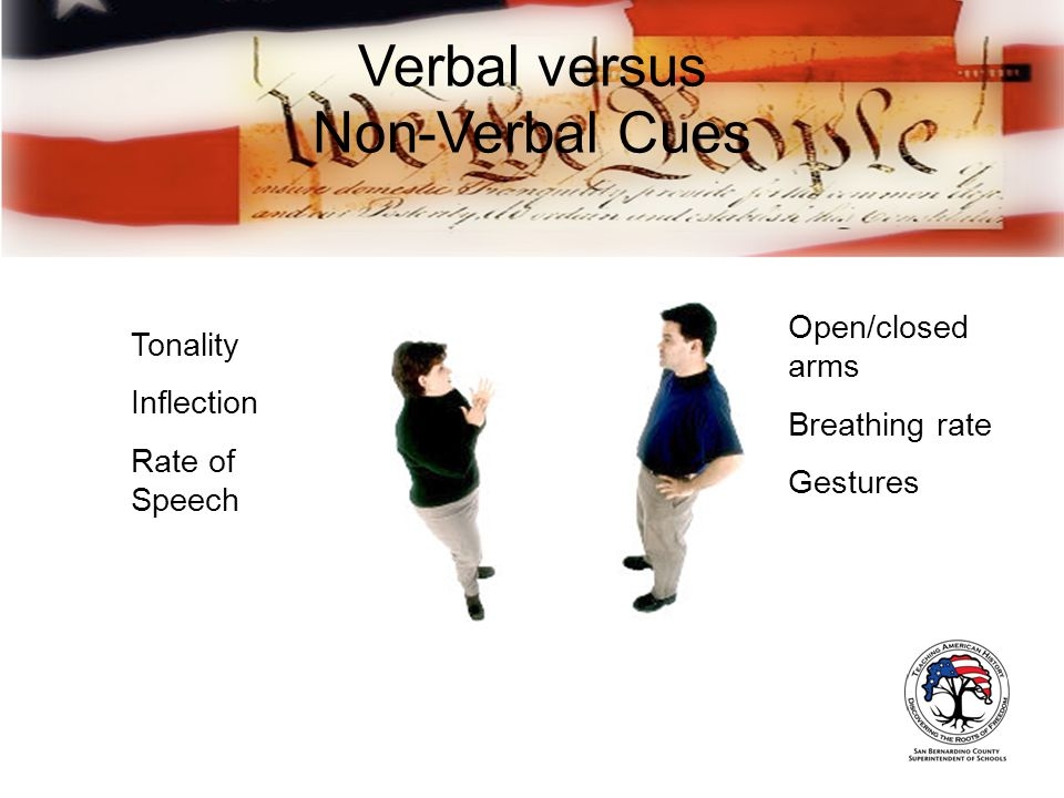 Tonality Inflection Rate of Speech Open/closed arms Breathing rate Gestures Verbal versus Non-Verbal Cues