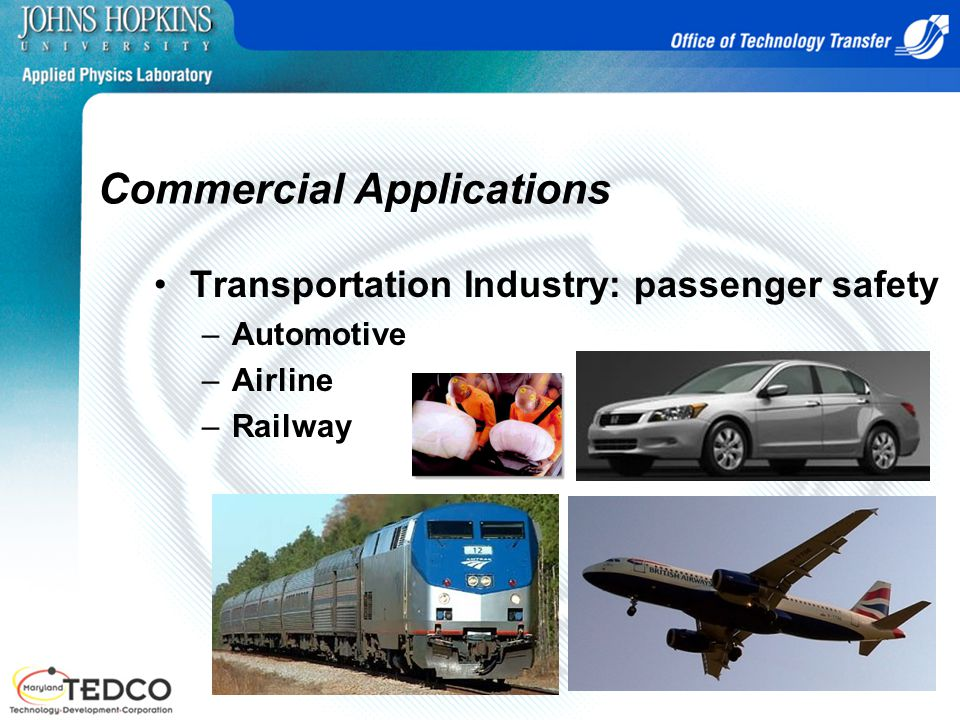 Commercial Applications Transportation Industry: passenger safety –Automotive –Airline –Railway