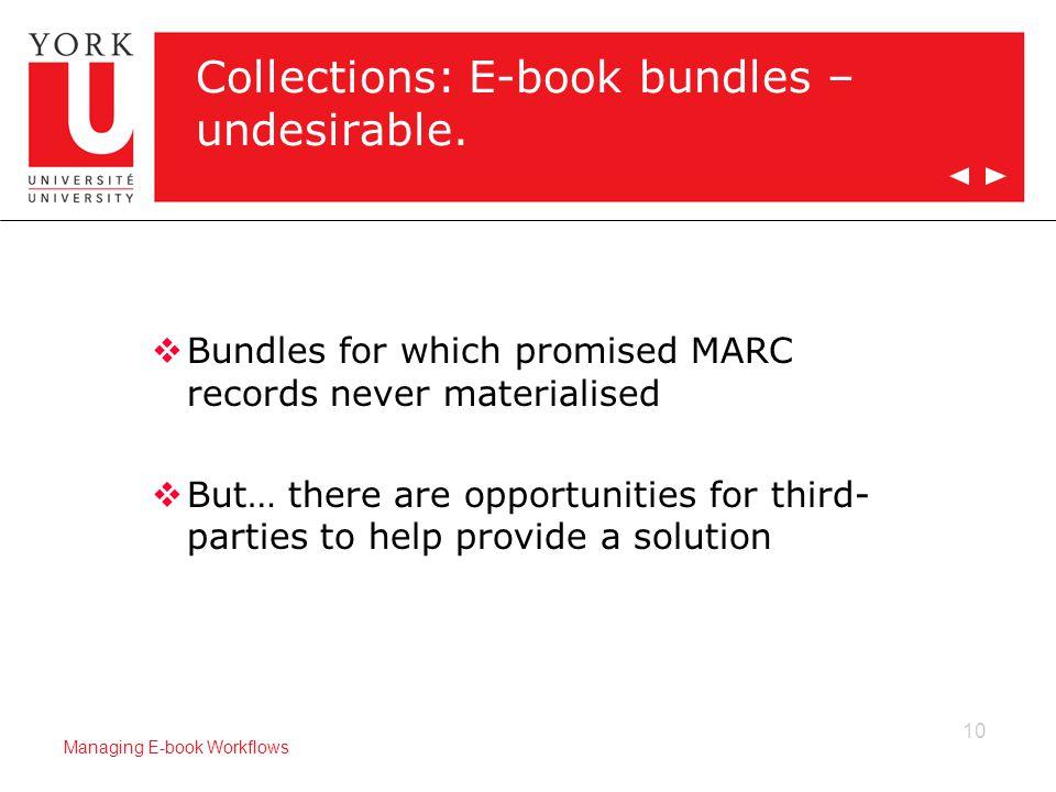 10 Managing E-book Workflows Collections: E-book bundles – undesirable.