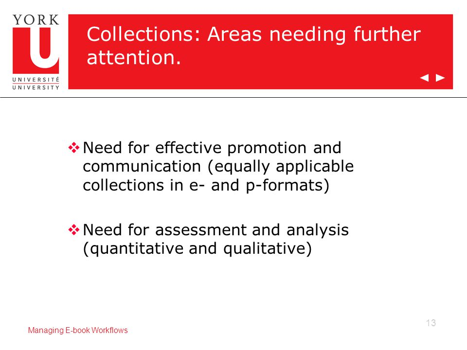 13 Managing E-book Workflows Collections: Areas needing further attention.