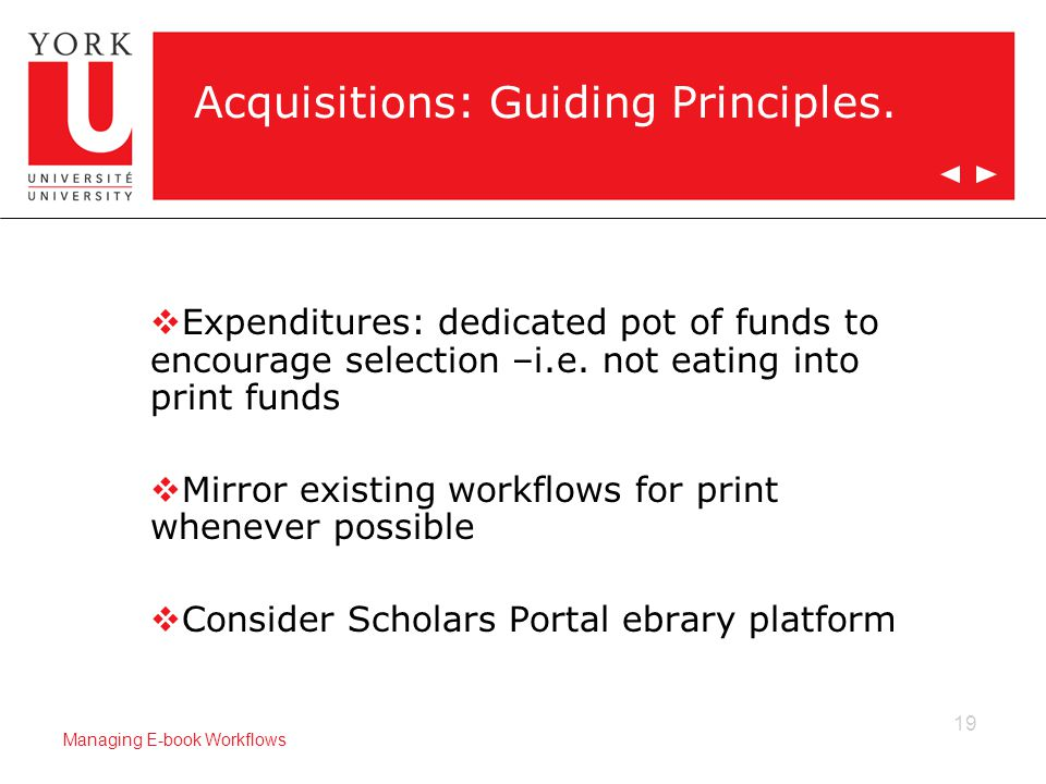 19 Managing E-book Workflows Acquisitions: Guiding Principles.