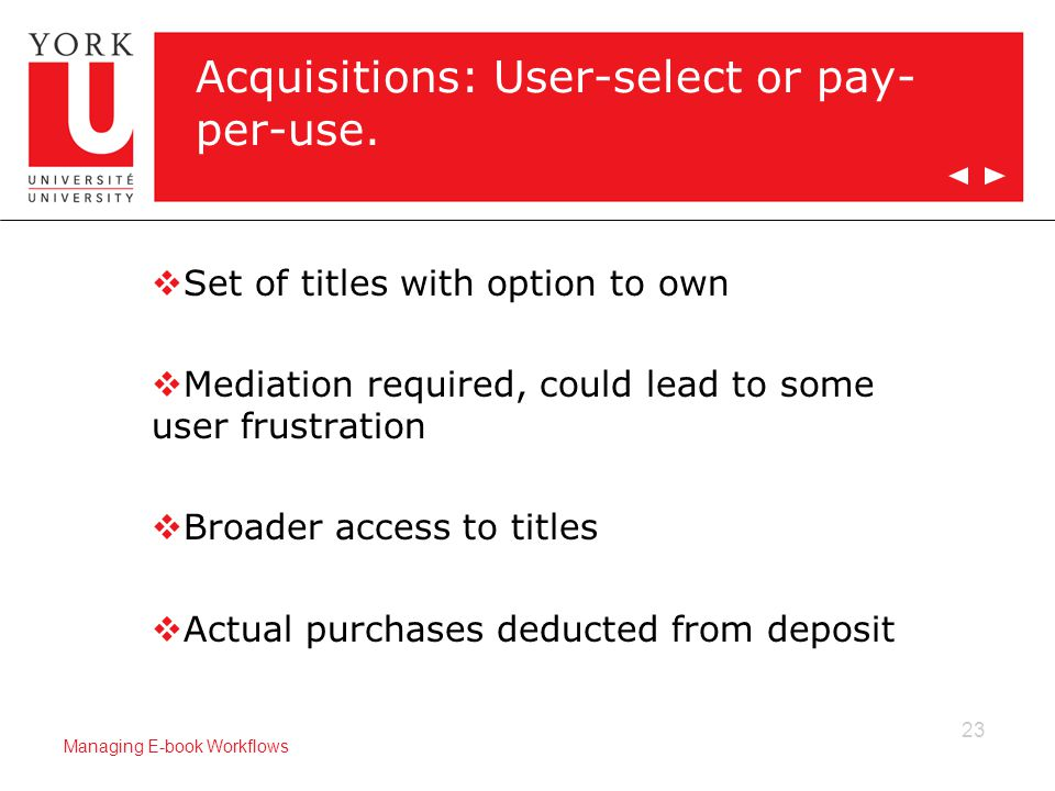 23 Managing E-book Workflows Acquisitions: User-select or pay- per-use.