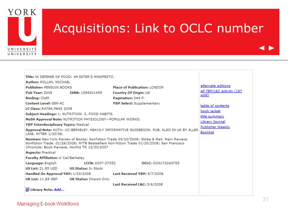 31 Managing E-book Workflows Acquisitions: Link to OCLC number
