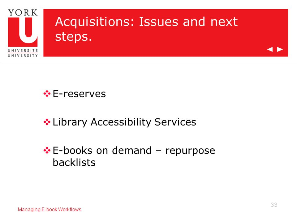 33 Managing E-book Workflows Acquisitions: Issues and next steps.