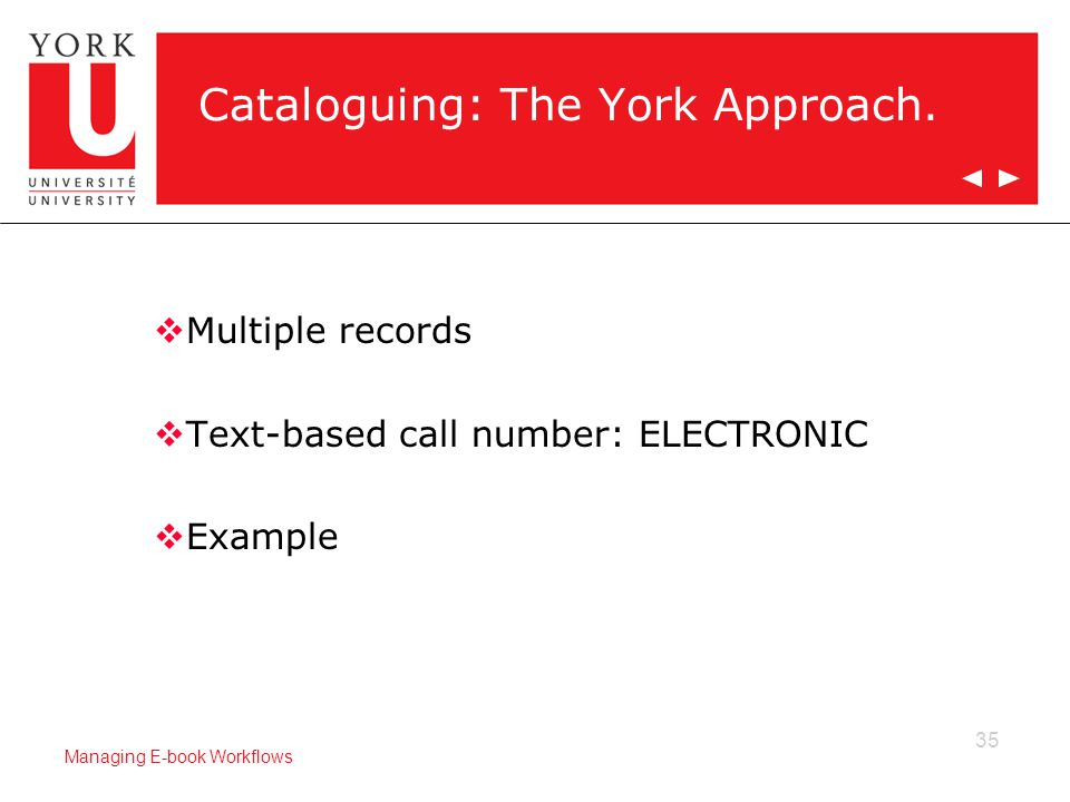 35 Managing E-book Workflows Cataloguing: The York Approach.