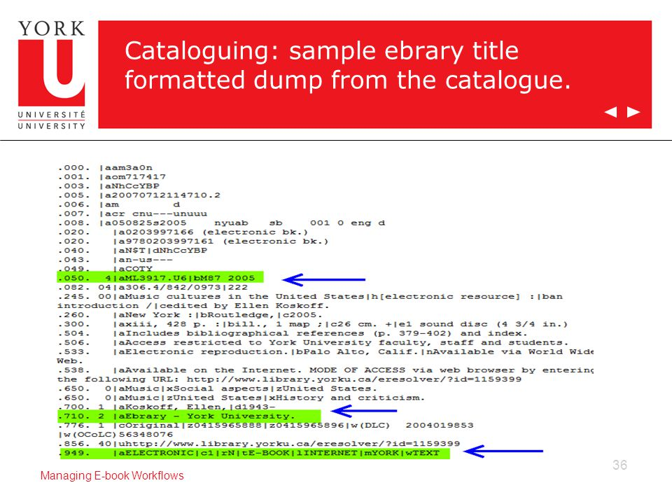 36 Managing E-book Workflows Cataloguing: sample ebrary title formatted dump from the catalogue.