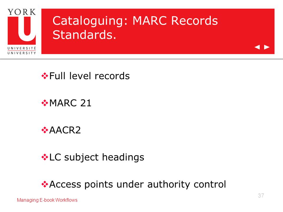 37 Managing E-book Workflows Cataloguing: MARC Records Standards.