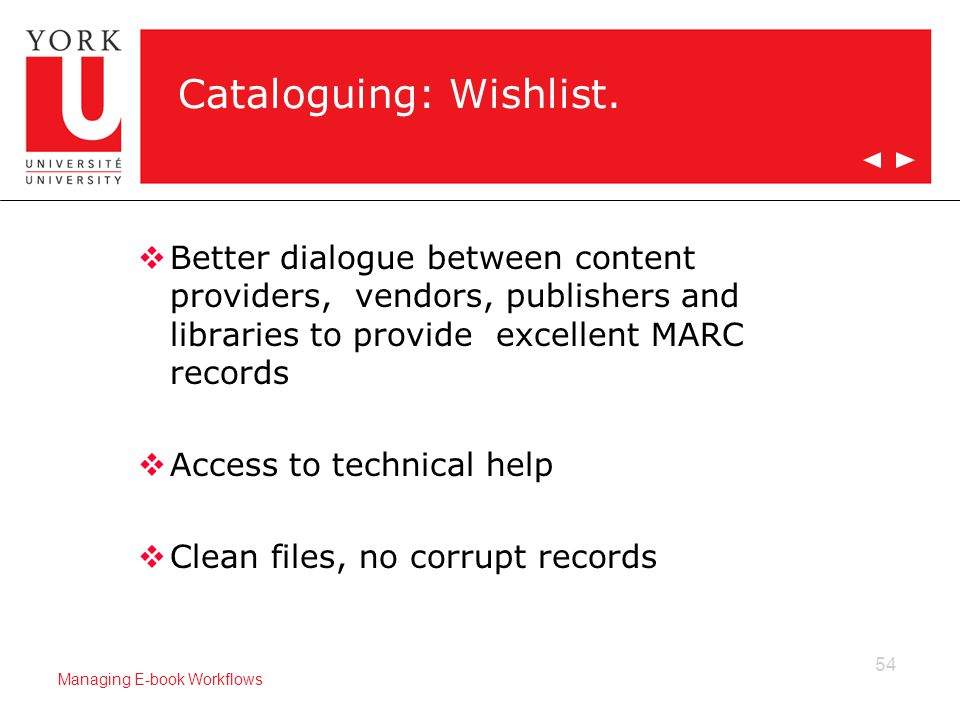 54 Managing E-book Workflows Cataloguing: Wishlist.