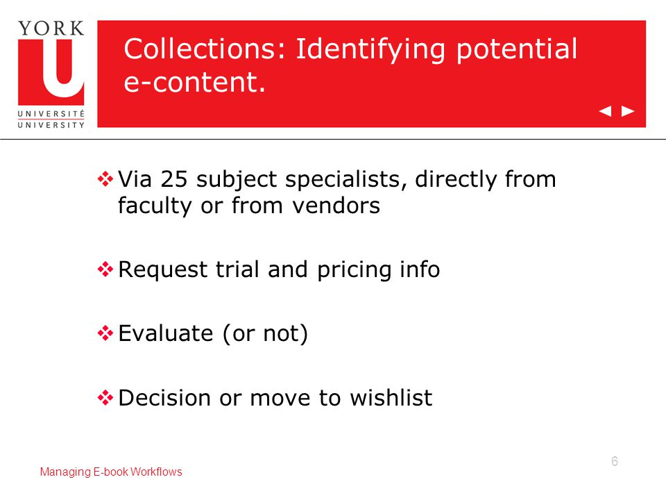6 Managing E-book Workflows Collections: Identifying potential e-content.