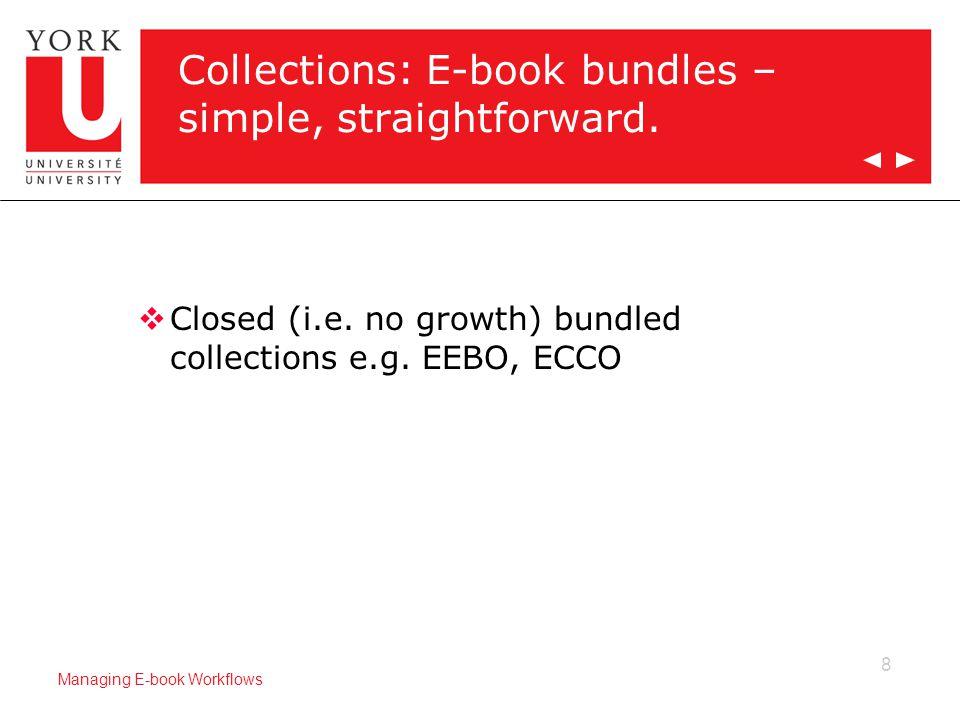 8 Managing E-book Workflows Collections: E-book bundles – simple, straightforward.