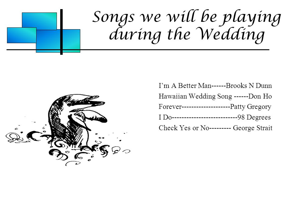 Songs we will be playing during the Wedding I'm A Better Man------Brooks N Dunn Hawaiian Wedding Song ------Don Ho Forever--------------------Patty Gregory I Do---------------------------98 Degrees Check Yes or No--------- George Strait