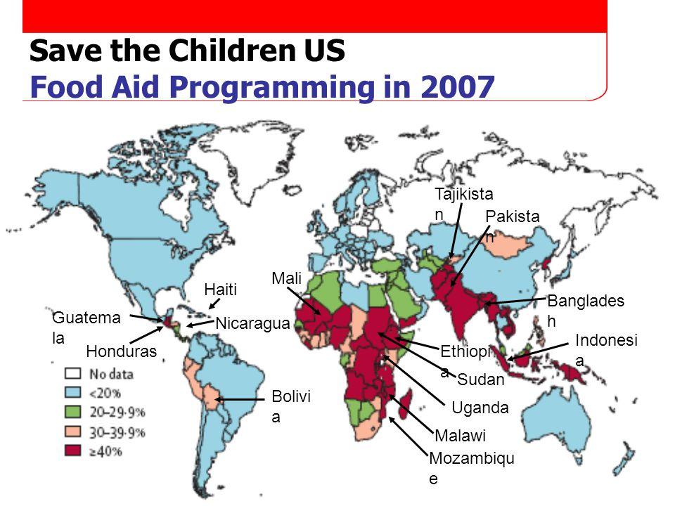 Page 4 Save the Children US Food Aid Programming in 2007 Uganda Malawi Mozambiqu e Banglades h Indonesi a Pakista n Tajikista n Bolivi a Ethiopi a Guatema la Haiti Honduras Mali Nicaragua Sudan