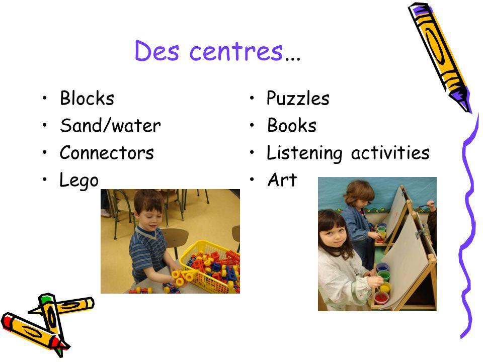 Des centres… Blocks Sand/water Connectors Lego Puzzles Books Listening activities Art