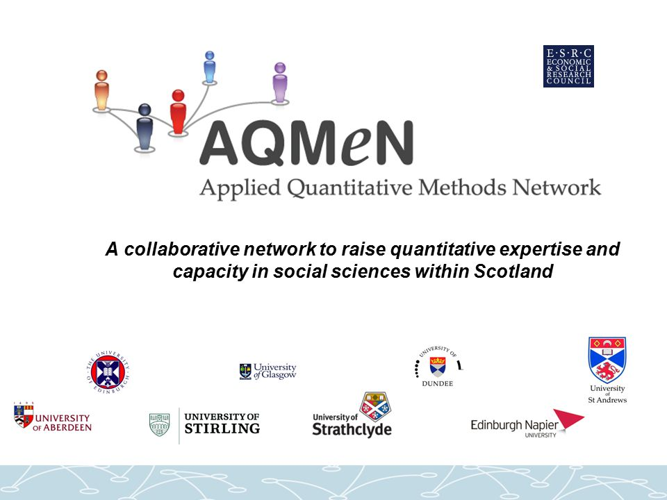 Encouraging collaboration Between disciplines and organisations Assistance with: –identifying opportunities for collaborative research –bringing relevant parties together Small grants: –collaborative research using AQMeN training –3 grants of £3000 per year –4th call just opened - deadline 29 th July 2011