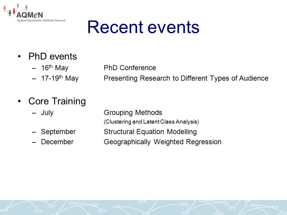 Recent events PhD events –16 th May PhD Conference –17-19 th May Presenting Research to Different Types of Audience Core Training –JulyGrouping Method
