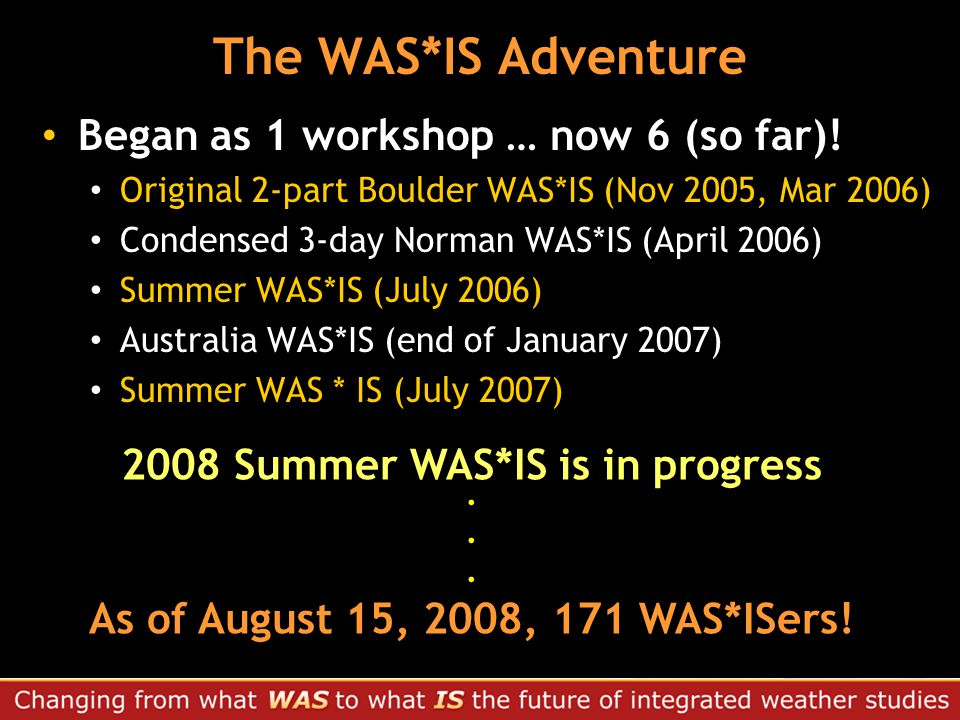 The WAS*IS Adventure Began as 1 workshop … now 6 (so far).