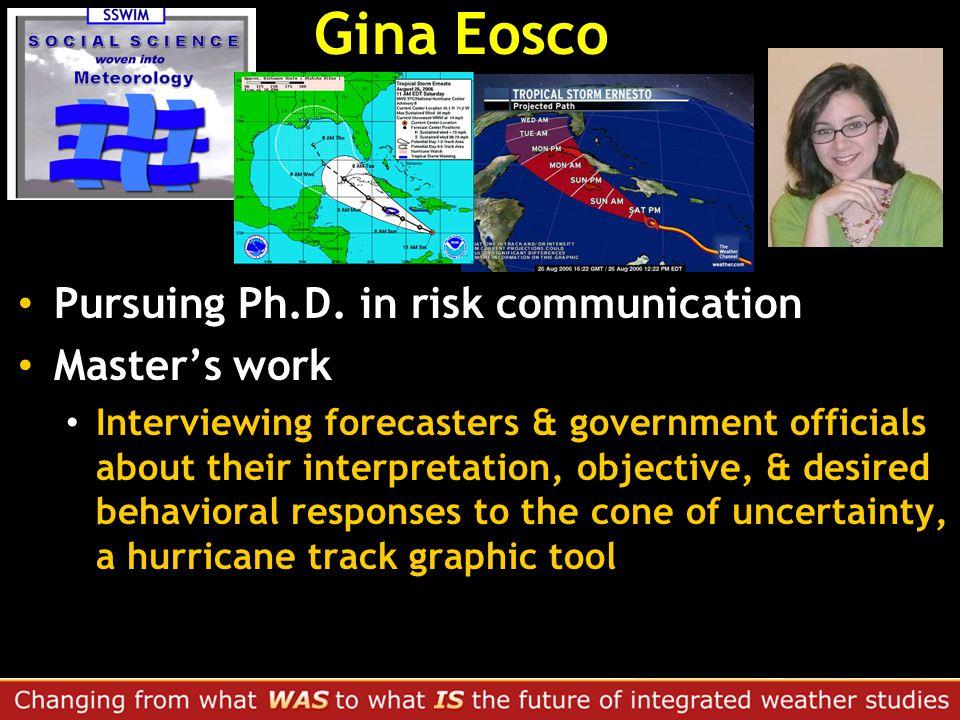 Gina Eosco Pursuing Ph.D.