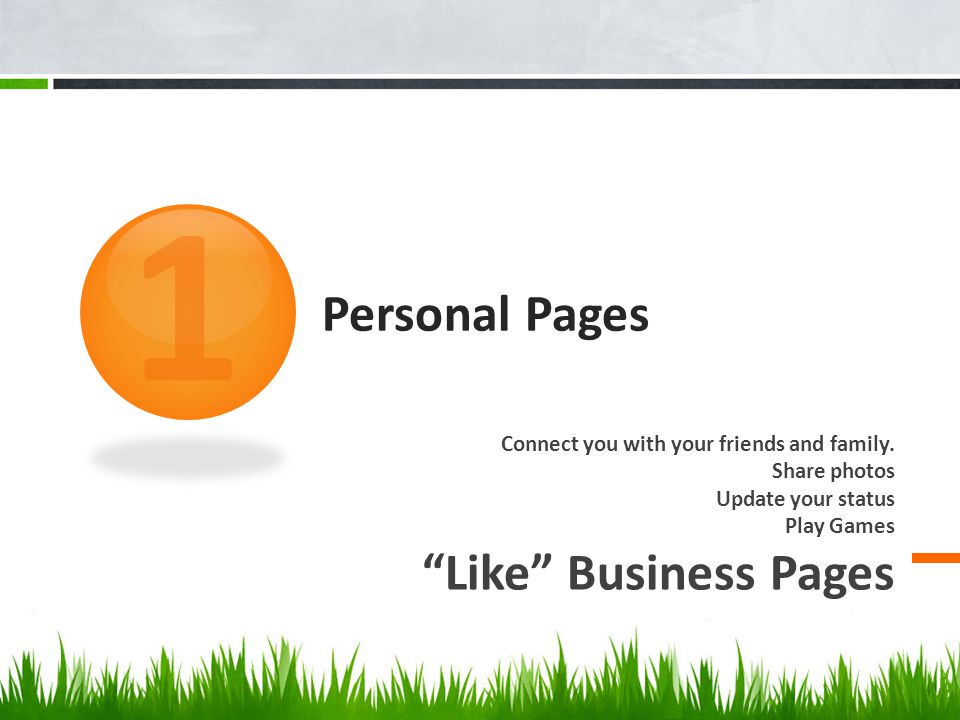 "Personal Pages Connect you with your friends and family. Share photos Update your status Play Games ""Like"" Business Pages 1"