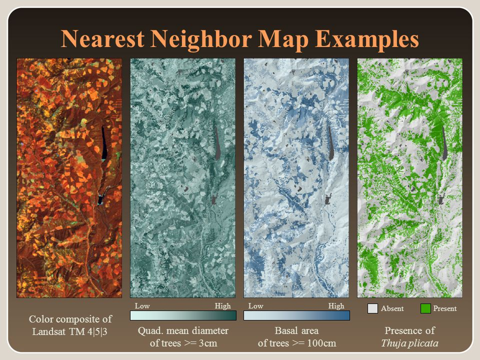 Absent Nearest Neighbor Map Examples Color composite of Landsat TM 4|5|3 Quad.