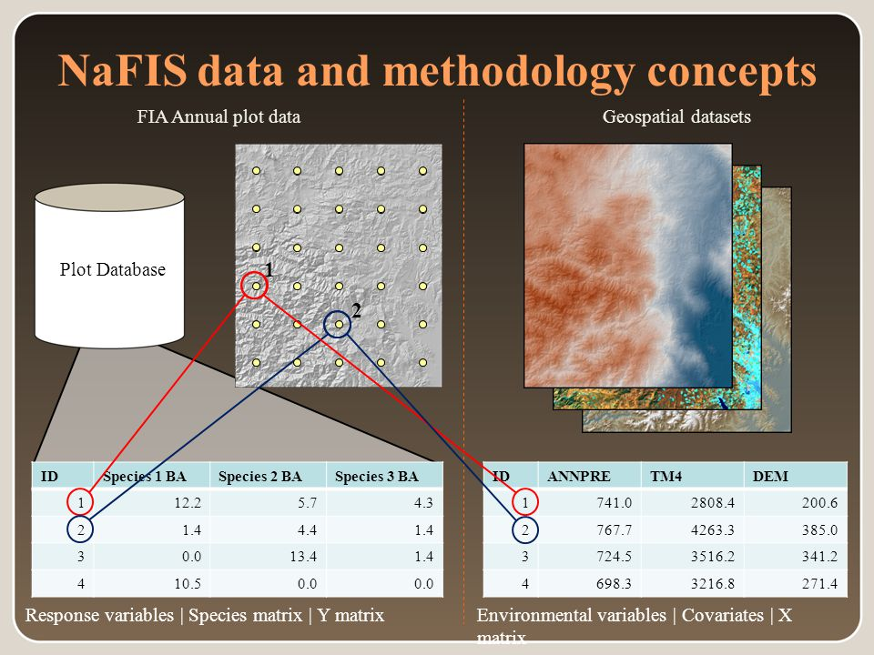 Plot Database NaFIS data and methodology concepts Geospatial datasetsFIA Annual plot data IDSpecies 1 BASpecies 2 BASpecies 3 BA 112.25.74.3 21.44.41.4 30.013.41.4 410.50.0 Response variables | Species matrix | Y matrix 1 2 IDANNPRETM4DEM 1741.02808.4200.6 2767.74263.3385.0 3724.53516.2341.2 4698.33216.8271.4 Environmental variables | Covariates | X matrix