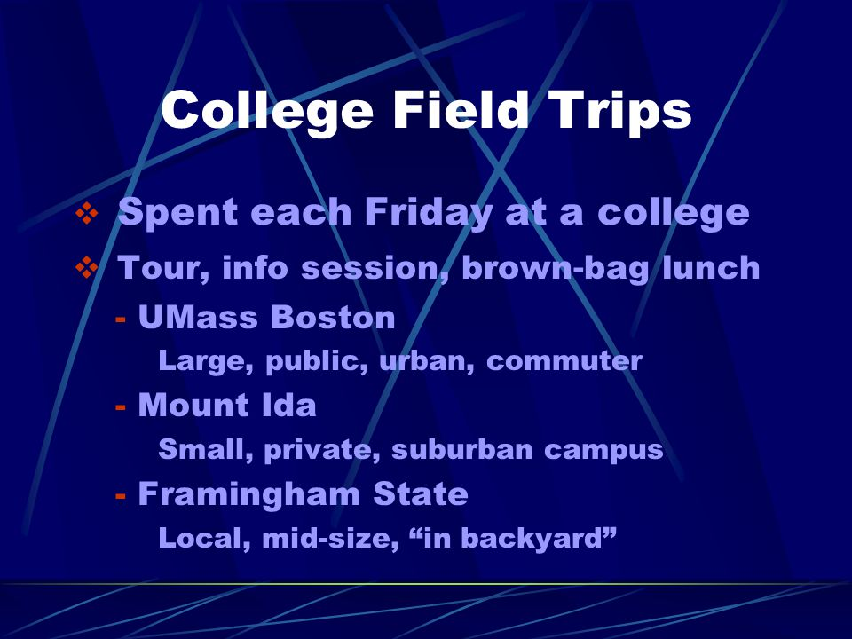 College Field Trips  Spent each Friday at a college  Tour, info session, brown-bag lunch - UMass Boston Large, public, urban, commuter - Mount Ida Small, private, suburban campus - Framingham State Local, mid-size, in backyard